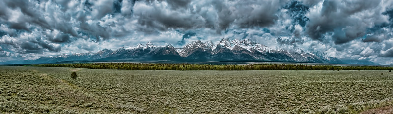 Panoramic photo of Grand Teton National Park near Jackson, Wyoming.