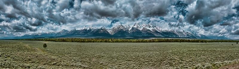 Panoramic photo of Grand Teton National Park near Jackson, Wyoming.