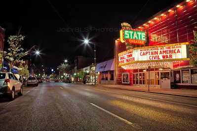 Front Street in Traverse City, Michigan at Night