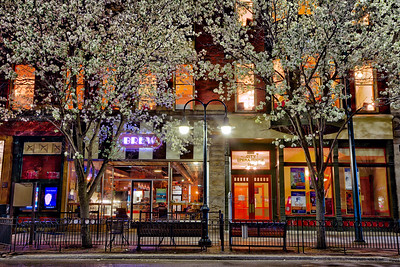 Spring Flowers on Front Street at Night in Downtown Traverse City, Michigan