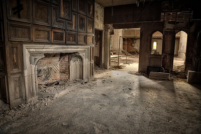 Old Fireplace in an Abandoned Church