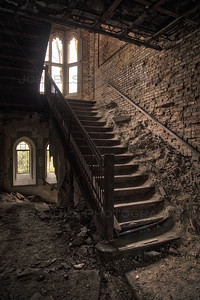 Old Dusty Staircase in an Abandoned Building