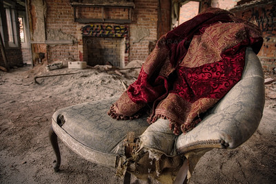 Velvet Blanket on an Old Vintage Chair