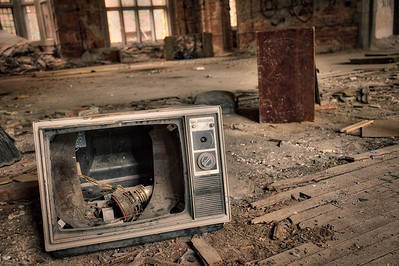Old and Broken 1970s Television Set