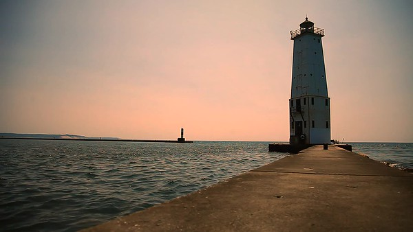 Frankfort Michigan Lighthouse at Sunset