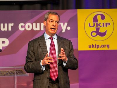 UKIP Leader Nigel Farage at a party rally in derby, UK. taken 01/05/2014