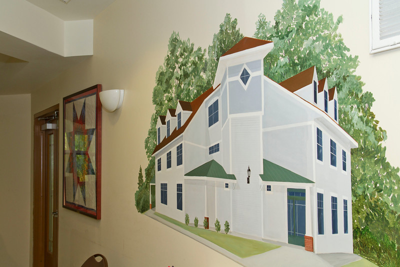 This painted mural was gifted to  Project Echo Homeless Shelter and graces their dining hall.