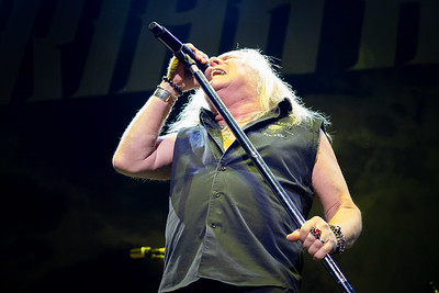 Uriah Heep lead singer, Bernie Shaw, opens for Judas Priest.