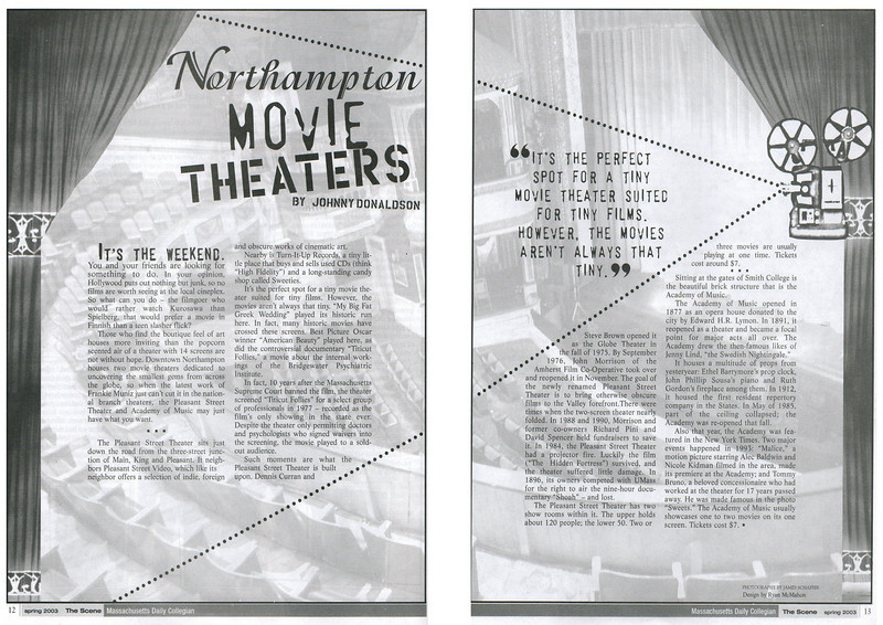The Daily Collegian Newspaper, Amherst, MA. 2003.<br /> A design for The Scene (the Daily Collegian's arts magazine).