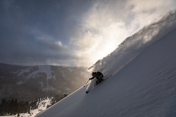 Dan skiing down Mt. Glory at sunset. Checkerspot Road Trip.
