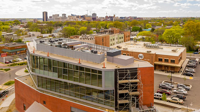 aerial drone photo for roof screen construction in Richmond , Va