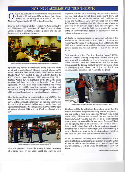 Photos and article written for a Coast Guard Auxiliary publication.