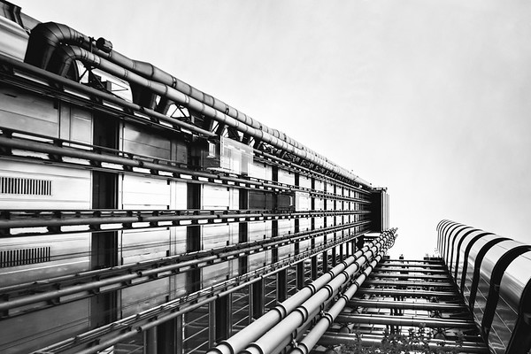The Inside-Out Lloyd's building designed by architect Richard Rogers at 1, Lime Street, in the City of London, England