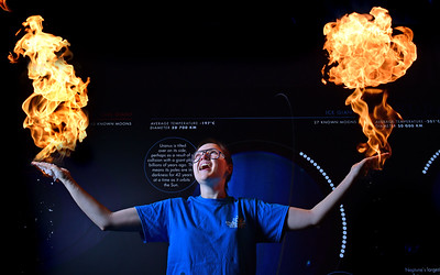 Glasgow Science centre event for adults, pictured is Emma Woodham setting fire to her hand.. Picture by Paul Chappells 22/02/17