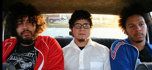 Lucus Gorham (red sweater) Kerry Melonson (blue sweater) David Gomez (white shirt)