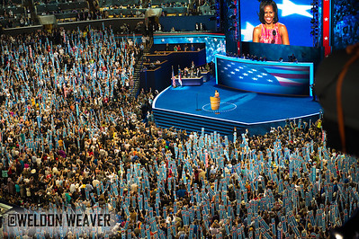 First Lady Michelle Obama. DNC  Tues Sept. 4, 2012.  Charlotte NC.  Photo by Weldon Weaver.