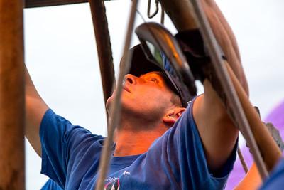 Jason Boucher pilot of the balloon Serendipity fires the burners.