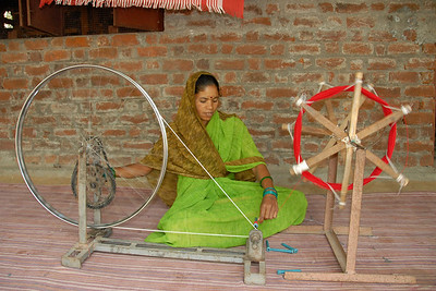 "07011746 - The ""Charkha"" or spinning machine is made of bicyle parts and is very easy to service. Spare parts are easy to find."