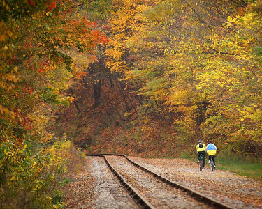 Biking along the Allegheny Highlands Trail on an autumn afternoon.