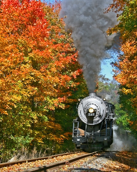 WMSR #734 passes through the bright October foliage Western Maryland Scenic Railroad