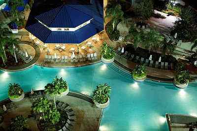 Night View of the Pool Area at the Hilton Orlando - Orlando, Florida