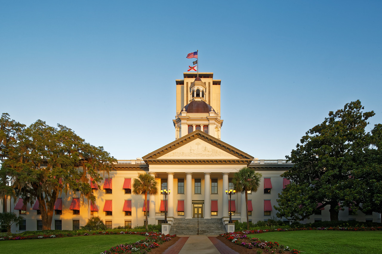 Florida's Historic Capitol and the Florida Capitol at Dawn
