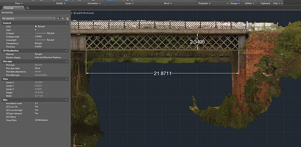 Terrestrial Scanning combined with aerial photogrammetry were used to create 3D point clouds of Bennerley Viaduct
