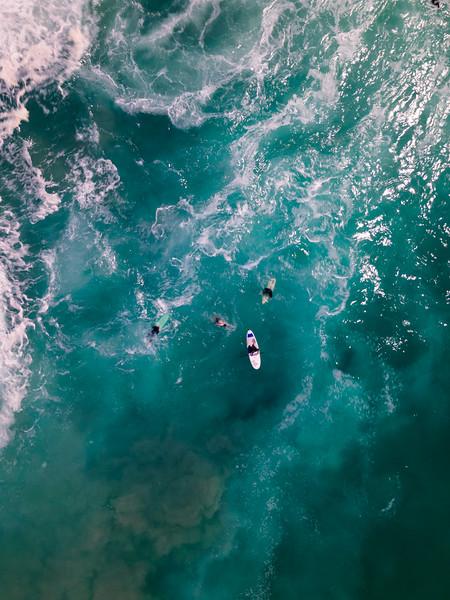 Hermanus surfers in the Atlantic Ocean, Western Cape, South Africa