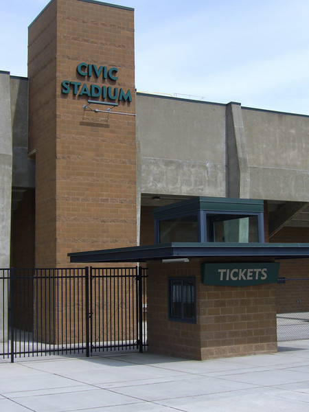 Ticket boooth awnings at Civic Stadium