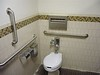 Handicap access restroom, glass tiles, grab bars