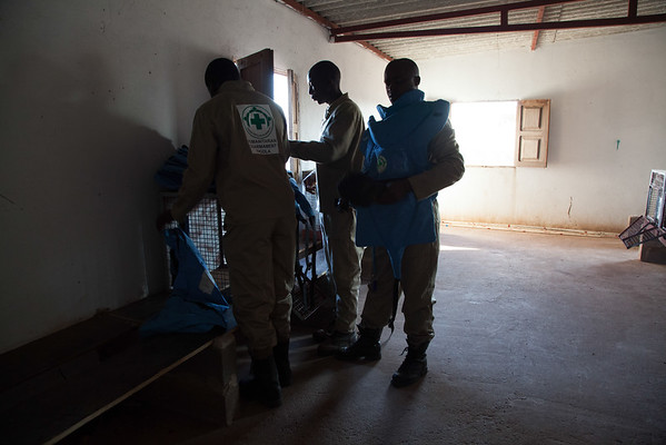 Apopo de-landminers prepare for a day out on the minefield.
