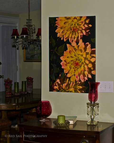 A 30x20 canvas. One of our images being displayed in a private home. See our Artistic Images, Flowers gallery.