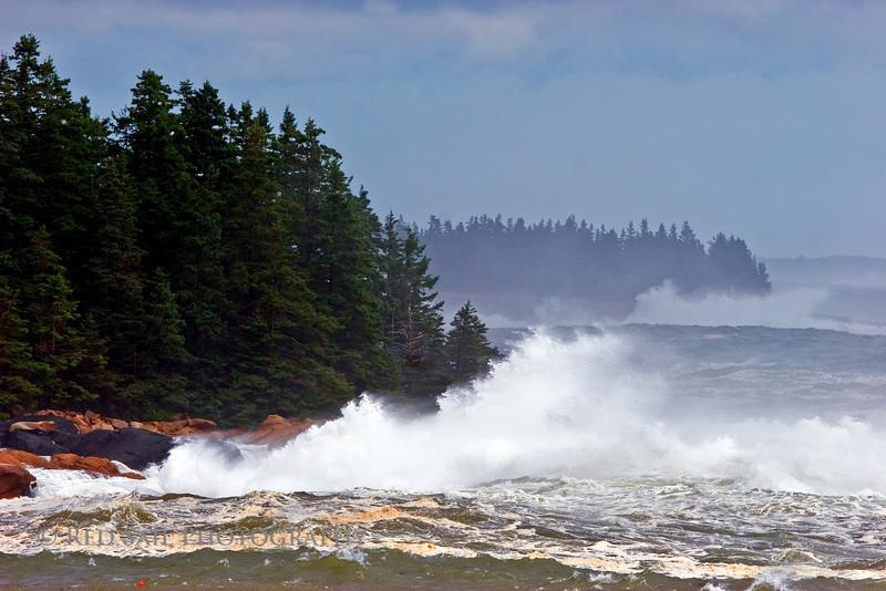 High seas along the Maine coast. Waves created by Hurricane Bill.