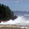 High seas along the Maine coast. Waves created by Hurricane Bill.