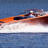 Chris Craft classic speedboat. This mahogany hull with a chevrolet inboard engine is in showroom condition as it cruises on Parks Pond in Clifton, Maine.