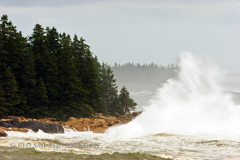 Schoodic Point, Maine. Waves from hurricane Bill.