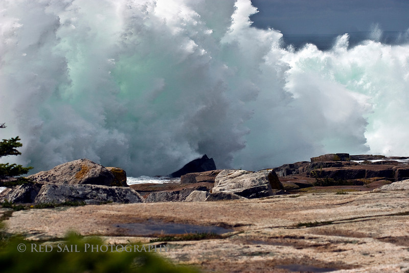 Rogue wave at Acadia National Park, Schoodic Point. This wave, from Hurrican Bill, was a surprise to everyone.