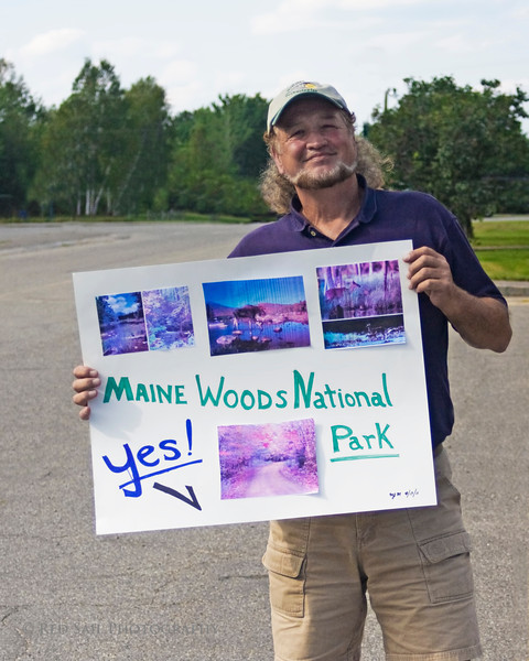 Millinocket, Maine. A supporter of the National Park attends a town hall meeting with the Secretary of the Interior, Ken Salazar.