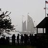 The first Schooners arrive as the fog begins to lift.
