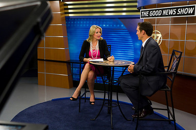 Kristen Ledlow, host of ABC's Good News Show on set.