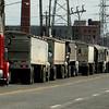 Grain trucks waiting to unload