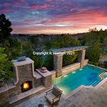 backyard sunset with Catalina