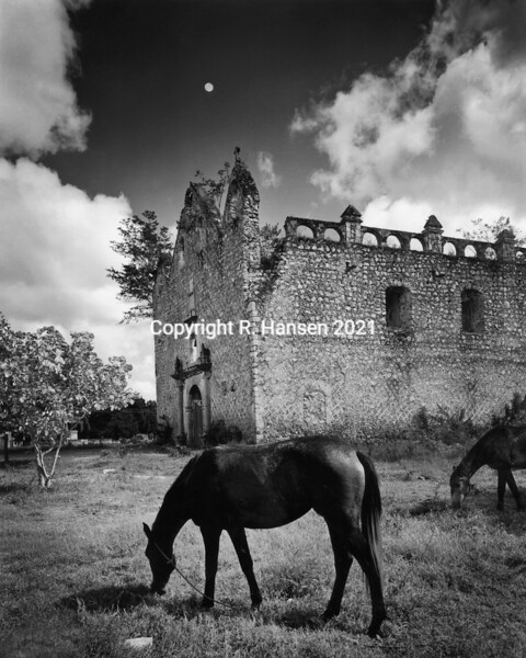 Plate # 40 , Horses and Church Ruin, Campeche