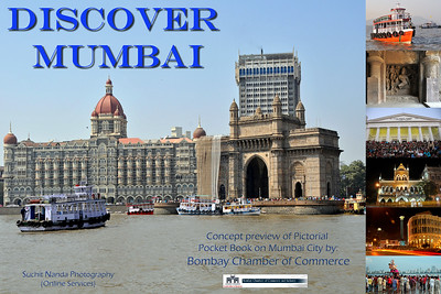 Concept preview of Pictorial Pocket Book on Mumbai City by Bombay Chamber of Commerce & Online Services (Suchit Nanda Photography).  Main image: View of Mumbai's Gateway of India with the Hotel Taj at the back. The Elephanta Caves are located just off Mumbai harbour in the Gharapuri Island also called Elephanta Island.