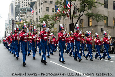 Stony Brook marching band on 5th Avenue in Manhattan