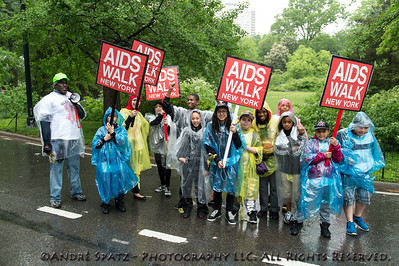 Cheering up the walkers in the rain.