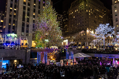 The 85-foot Christmas tree is seen all lit up during the 82nd annual Rockefeller Center Christmas tree lighting ceremony.
