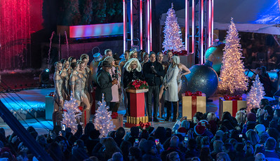 Al Roker, Savannah Guthrie, Cyndi Lauper, Billy Porter, Matt Lauer and Natalie Morales appear with the Rockettes on stage at the 82nd annual Rockefeller Christmas Tree Lighting Ceremony at Rockefeller Center