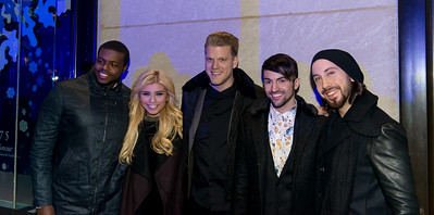 Avi Kaplan, Kirstie Maldonado, Scott Hoying, Mitchell Grassi and Kevin Olusola of the music group Pentatonix at the 82nd Annual Rockefeller Center Christmas Tree Lighting Ceremony
