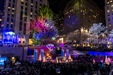 The tree waits to be lit prior to the 82nd annual Rockefeller Center Christmas Tree Lighting Ceremony.